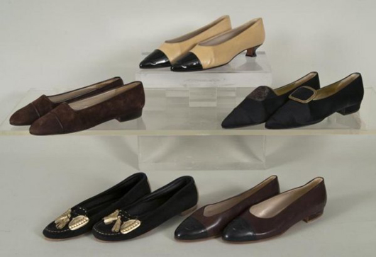 4e1d7019dc89 Group lot comprised of five pairs of circa-1990s Chanel flats