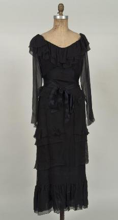 Circa-1990s Chanel couture evening dress, black silk chiffon, from the Estate of Lucia Moreira-Salles, NY. Sold through LiveAuctioneers.com in Millea Bros.' Nov. 21, 2009 sale for $2,196 against an estimate of $600-$800.