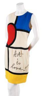 """A sleeveless Moschino Mondrian dress with a round neckline embellished at the front with the phrase """"Art is Love,"""" labeled """"Cheap and Chic by Moschino,"""" sold for $1,342 at Leslie Hindman's Sept. 2, 2009 auction of vintage couture and accessories, against a presale estimate of $300-$500. Image courtesy of Leslie Hindman Auctioneers."""