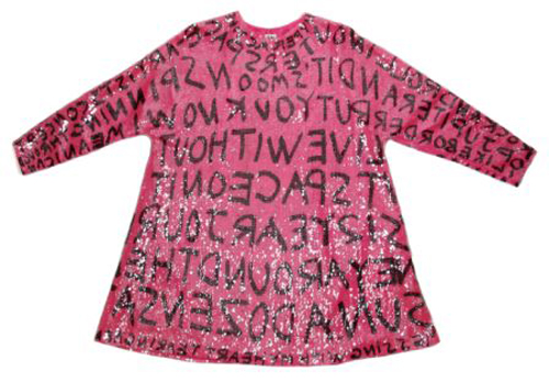 """A Stephen Sprouse hot pink sequined graffiti swing dress, early 1984, from one of his first graffiti-inspired collections, labeled """"SS84,"""" sold for $2,074 at Leslie Hindman's Sept. 2, 2009 auction of vintage couture and accessories, against a presale estimate of $1,000-$2,000. Image courtesy of Leslie Hindman Auctioneers."""