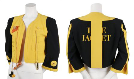 """A 1989 Moschino """"Lifejacket"""" from the 1989 Cruise Me Baby collection, labeled Moschino Couture, sold for $1,220 at Leslie Hindman's April 19, 2009 auction of vintage couture and accessories, against a presale estimate of $1,000-$1,500. Image courtesy of Leslie Hindman Auctioneers."""