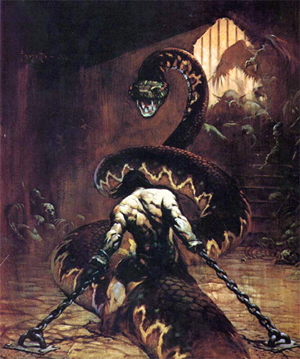 Scan of the fantastic cover of 'Conan the Usurper.' The cover painting, titled 'Chained' is by Frank Frazetta. Mr. Frazetta's copyrighted image appears in accordance with fair use policy under U.S. Copyright law.