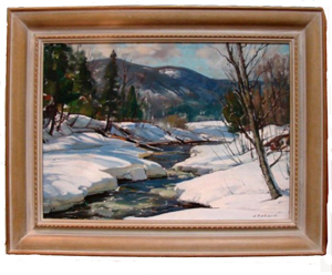 Aldro Hibbard was an Impressionist landscape painter who paid great attention to light and shadow. His oil painting 'Vermont Stream' is estimated at $18,000-$20,000. Image courtesy of Gulfcoast Coin & Jewelry.