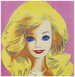 Andy Warhol painted this portrait of Barbie in 1985. It is synthetic polymer paint and silkscreen ink on canvas. Image courtesy of Mattel Inc. and the Children's Museum of Indianapolis.