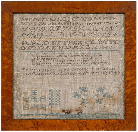 The verse included on Letsy Ann Young's 1842 sampler was from a hymn titled 'Morality' published in 1835. Variations of the tall trees and long-tailed sheep may connect Young's sampler to the Charleston, S.C., area. Estimate: $2,000-$4,000. Image courtesy of Brunk Auctions.