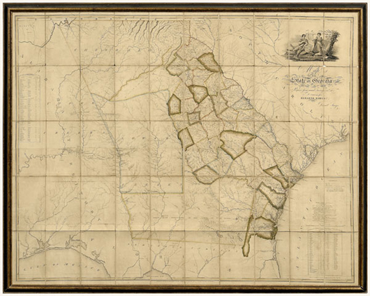 Two pages in the catalog are devoted to the 1818 Georgia map 'prepared from actual surveys and other documents for Eleazer Early.' Daniel Sturges did the research, Samuel Harrison the engraving on the map. Image courtesy of Brunk Auctions.