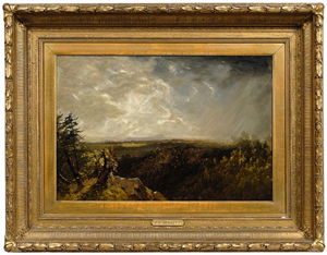 An old label on the reverse of this unsigned oil on canvas attributed to noted Luminist painter John Frederick Kensett (1816-1872) gives the title as 'Recollections of a storm from the … .' Brunk Auctions placed a $200,000-$300,000 estimate on the 15 1/8- by 22 1/2-inch painting. Image courtesy of Brunk Auctions.