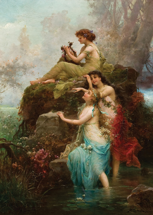 This oil on canvas by Austrian artist Hans Zatzka (1859-1945) titled Symphony of the Water Nymphs, sold for $44,400 on Dec. 8 at Jackson's. Image courtesy Jackson's International Auctioneers.