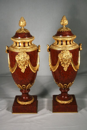 Lot no. 1 is this pair of French Napoleon III ormolu-mounted marble urns, 23 3/4 inches high, which has an estimate of $4,000-$6,000. Image courtesy Mathesons' AA Auctions.