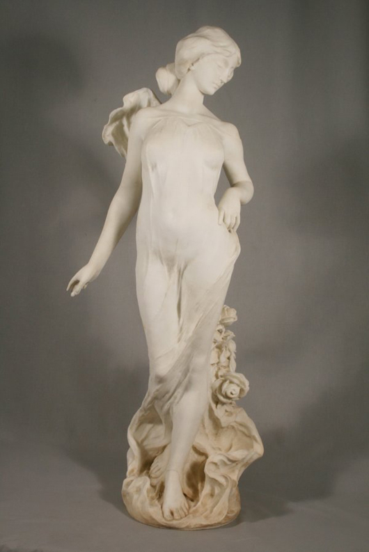 Italian artist Ferdinando Vichi created this Art Nouveau marble statue, which gracefully stands 35 3/4 inches tall. It has a $6,000-$8,000 estimate. Image courtesy Mathesons' AA Auctions.