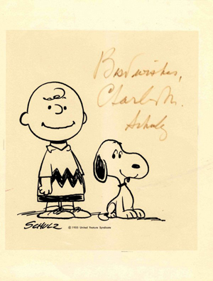 'Peanuts' creator Charles M. Schulz autographed this print of Charlie Brown and Snoopy. Image courtesy of Nate D. Sanders Auction and LiveAuctioneers archive.
