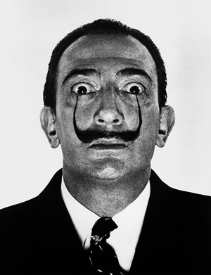 Salvador Dali painted the ballet curtain for the 1943 production of 'Labyrinth.' Philippe Halsmann photographed Dali in 1959. Image courtesy of Galerie Bassenge and Live Auctioneers archive.