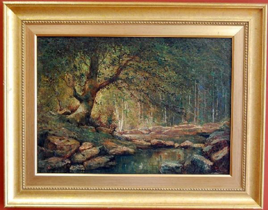 This forest landscape by Anthony Thieme is the catalog cover lot for Four Seasons Auction Gallery's sale Jan. 3. The 20- by 28-inch oil on canvas has a $10,000-$20,000 estimate. Image courtesy of Four Seasons Auction Gallery.