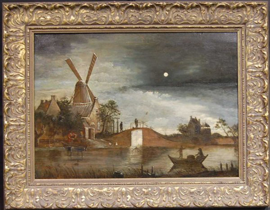 Aeert van der Neer (1603-1677) signed this moonlit landscape on the boat. The oil on board is 18 inches tall and 25 inches wide and has a $7,000-$12,000 estimate. Image courtesy of Four Seasons Auction Gallery.