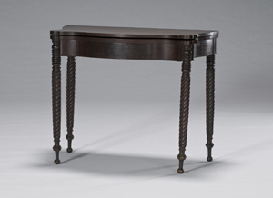 An example of an affordable, practical furnishing, this 19th-century mahogany Sheraton gaming table sold for $330 in Cowan's Feb. 7, 2009 Fine and Decorative Art Auction. Image courtesy of Cowan's Auctions.