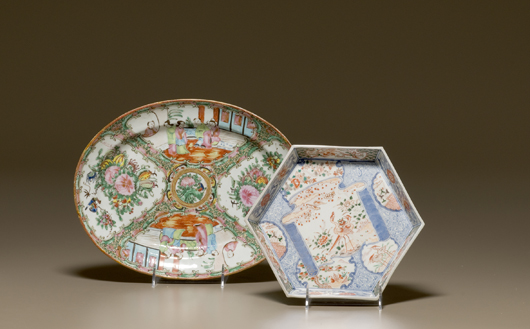 A 19th-century Japanese Imari dish and a Rose Medallion platter sold for an affordable $106 in Cowan's Oct. 2, 2009 Fine and Decorative Art Auction. Image courtesy of Cowan's Auctions.