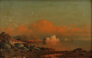 Attached to the period gilt frame of this painting is a plaque that reads: 'Near Henly Harbor (Coast of Labrador) William Bradford.' The 9- by 14-inch painting in as-found condition has a $20,000-$30,000 estimate. Image courtesy of Myers Fine Art & Antiques Auction Gallery.