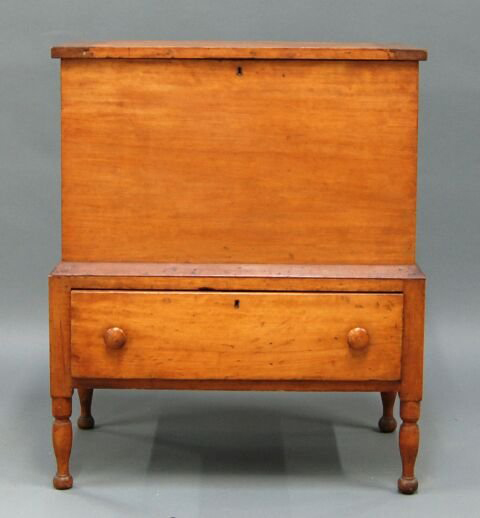 This Sheraton sugar chest from Kentucky is constructed of solid butternut. It has a $2,500-$3,500 estimate. Image courtesy of Myers Fine Art & Antiques Auction Gallery.