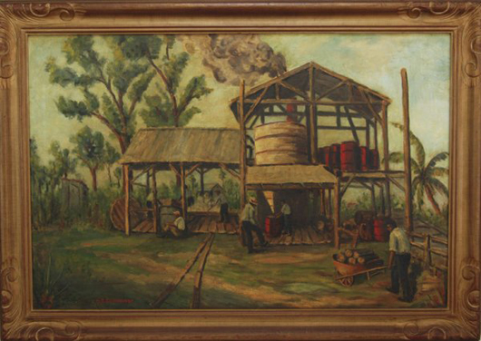 May S. Clinedinst (1887-1960) painted this Florida sugar cane plant in the mid-1900s. The signed painting, estimated at $1,200-$1,800, has generated interest among Florida art collectors. Image courtesy of Myers Fine Art & Antiques Auction Gallery.