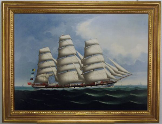 Lai Fong specialized in painting portraits of ships in the China trade. The Calcutta-based artist pictured the 'Iron Ship Avoca' under full sail. In a gilt frame measuring 31 inches by 41 inches, this oil on canvas has a $4,000-$6,000 estimate. Image courtesy of Myers Fine Art & Antiques Auction Gallery.