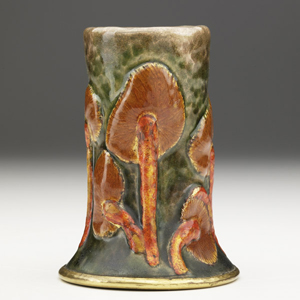 Tiffany Studios' rare enameled copper bud vase is just 4 inches high. It is expected to bring $17,500-$22,500. Image courtesy Rago Arts and Auction Center.