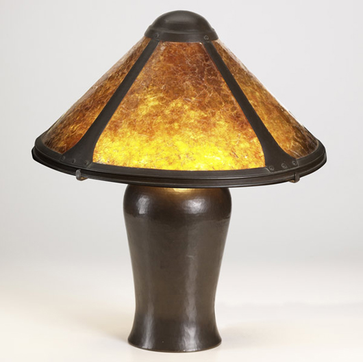 The Dirk Van Erp hammered copper table lamp stands 20 1/2 inches tall. The shade is 16 3/4 inches in diameter. It has an $8,000-12,000 estimate. Image courtesy Rago Arts and Auction Center.