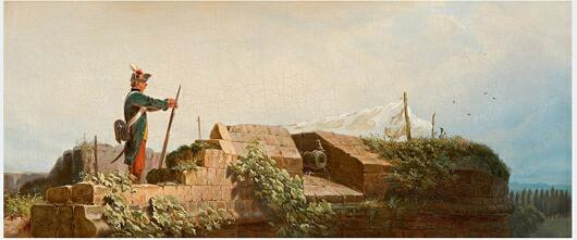 Dieses Öl auf Leinwand Gemälde von Carl Spitzweg zeigt den üblichen Witz des Malers mit dem pflichtbewussten aber gähnenden Soldat und im Winde flatternde Wäsche. Eines der neusten Angebote des Auktionshauses Kaupp. Foto von Auktionshaus Kaupp.