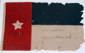 Civil War 47th Regiment flag stamped Gettysburg and Fredericksburg. Image courtesy LiveAuctioneers.com Archive and Burchard Galleries.