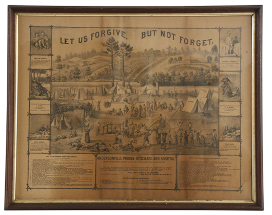 """Andersonville Prison lithographic print, titled """"Let us forgive but not forget"""" (est. $2,000-$3,000).  Image courtesy Fontaine's Auction Gallery."""
