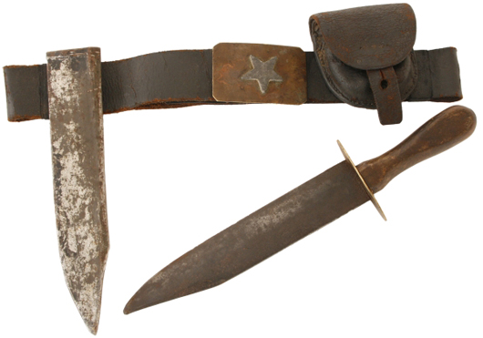 Very rare Confederate Bowie knife with black leather belt and leather cap box (est. $4,000-$6,000).  Image courtesy Fontaine's Auction Gallery.