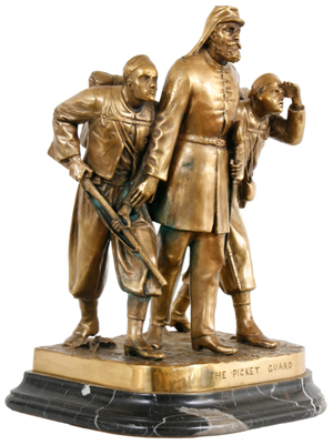 "Fantastic bronze grouping after John Rogers, titled ""The Picket Guards"" (est. $10,000-$15,000). Image courtesy Fontaine's Auction Gallery."