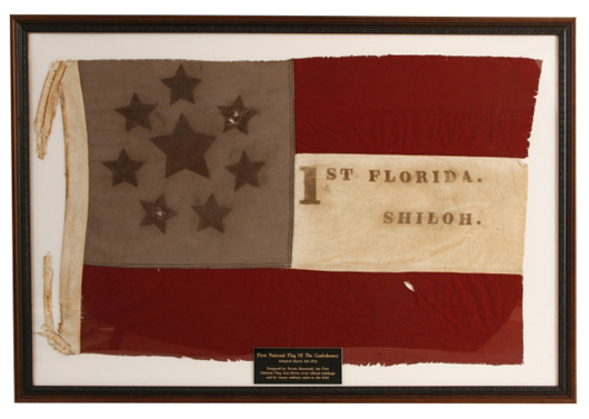 Florida state Confederate stars and bars flag, with 8th star added, for Virginia (est. $2,000-$3,000). Image courtesy Fontaine's Auction Gallery.