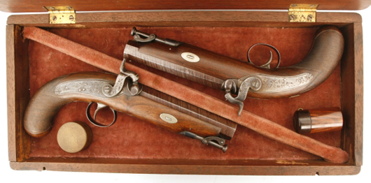Wonderful pair of D. Egg percussion dueling pistols, .62 caliber, 5 ½-inch barrels (est. $4,000-$6,000).  Image courtesy Fontaine's Auction Gallery.