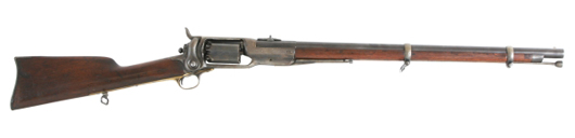 Colt model 1855 military rifle, .56 caliber, with 24-inch barrel and good bore (est. $12,000-$15,000).  Image courtesy Fontaine's Auction Gallery.