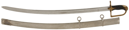 Light Cavalry sword from pre-World War II Poland (1934), with scabbard (est. $2,000-$3,000).  Image courtesy Fontaine's Auction Gallery.
