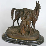 A cossack, his woman and his horse are grouped in this Russian bronze by L. Gratchev. Marked 'Fabr. C. F. Woerffel St. Petersburg,' the bronze has an $8,000-$10,000 estimate. Image courtesy of Carl W. Stinson Inc.