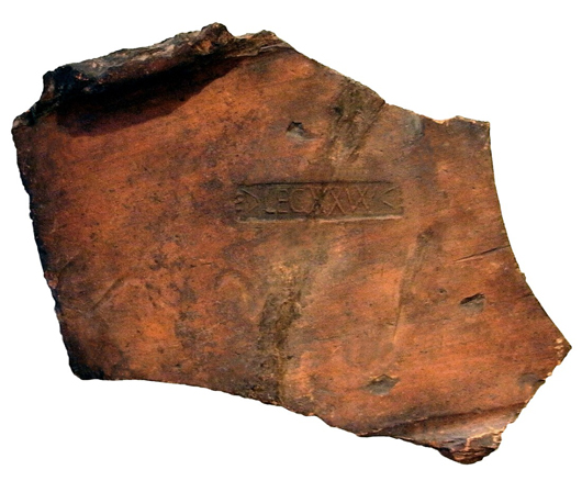 This large and impressive Roman military tile fragment bearing the stamp of the famous 20th Legion, which was stationed at Chester for nearly 200 years late in the first century, is for sale at £550 ($895) at Alan Dawson of Odyssey at the Chester Fair. Image courtesy Odyssey.