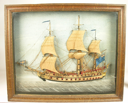 This 18th-century wood and cut-paper diorama fetched £7,500 ($12,200) at Woolley & Wallis's January sale of furniture and works of art in Salisbury. Image Woolley & Wallis.