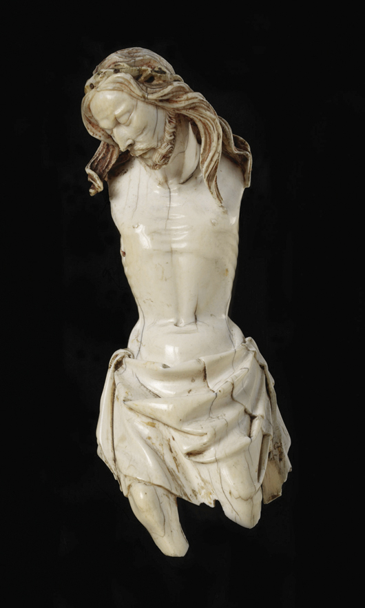 This tiny ivory figure of the crucified Christ from the Victoria and Albert Museum's collection, will be on display at the museum's new Mediaeval and Renaissance galleries. Image courtesy V&A Images.