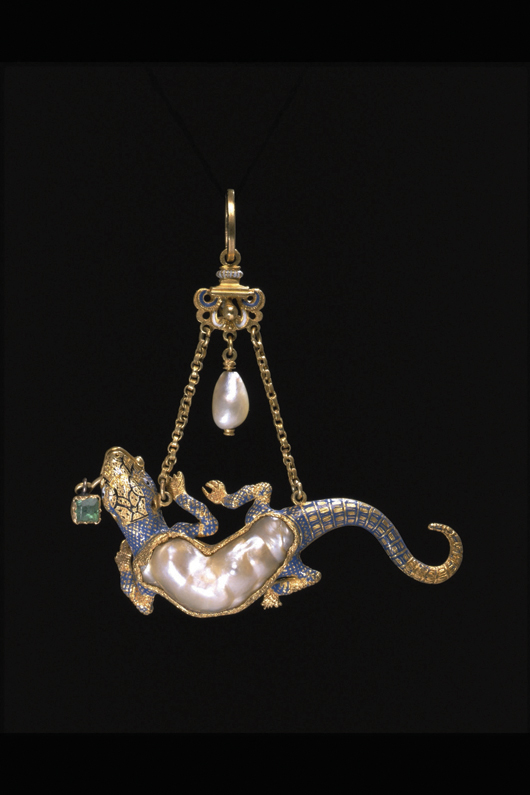 This 16th-century enameled and gold pendant in the form of a salamander is on display at the Victoria and Albert Museum's refurbished Mediaeval and Renaissance galleries. Image courtesy V&A Images.