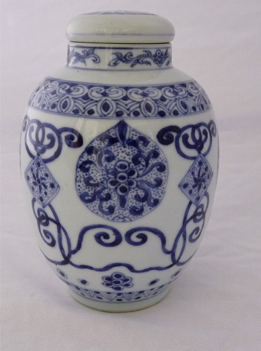 Catherine Hunt Antiques will be offering this rare Kangxi blue and white lidded jar with European and Buddhist designs, circa 1700, at £1,950 ($3,200) at the Tortworth Court Antiques and Fine Art Fair on Feb. 26-28. Photo Antiques Dealers Fair Ltd.
