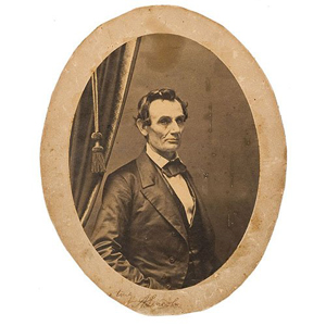 Autographed photo of Abraham Lincoln taken by C.S. German, sold for $35,000 + buyer's premium at Cowan's Auctions, June 7, 2007.