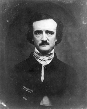 Edgar Allan Poe sat for this daguerreotype by W.S. Hartshorn, Providence, R.I., on Nov. 9, 1848, 11 months before the 40-year-old writer and poet died. Image courtesy Wikimedia Commons.