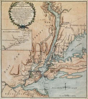 Map: Robert Sayer and John Bennett, London, 1776, the seat of action between the British and American forces, or a plan of the western part of Long Island, with the engagement of the 27th August, 1776 between the King's forces and the Americans. Est. $5,000-$8,000. Image courtesy Housing Works.