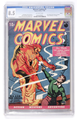 Marvel Comics #1, 1939, provenance Mile High Collection, features superheroes The Human Torch, The Angel and more. Sold for $130,000 + buyer's premium on Feb. 26, 2009. Image courtesy LiveAuctioneers Archive and Heritage Auction Galleries.