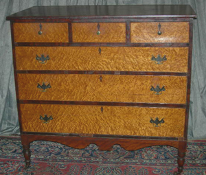 Gorgeous six-drawer bird's-eye maple chest. Image courtesy of Specialists of the South.
