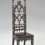 Probably made in New Orleans or New York, this American Gothic Revival oak chair is considered rare and important because of its place in plantations of the antebellum South. This fine example has a $20,000-$40,000 estimate. Image courtesy New Orleans Auction St. Charles Gallery Inc.