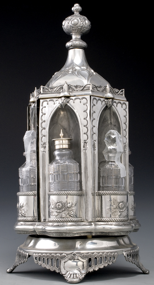 This table caster in silver plate shows Gothic lancet arches combined with elements of the Rococo. It sold for $1,150 in Cowan's June 2008 Fine and Decorative Art Auction. Image courtesy of Cowan's Auctions Inc.