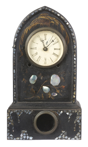 This shelf clock, made by Terry & Andrews, is an example of single feature, the lancet arch. It sold for $330 in Cowan's April 2007 Auction. Image courtesy of Cowan's Auctions Inc.