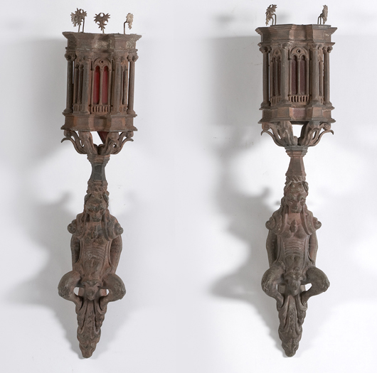 This pair of 19th-century Gothic sconces, a harkening back to Medieval gargoyles with light emanating from lancet arches, is estimated to bring $800-1,000 in Cowan's Feb. 20 Fine and Decorative Art Auction. Image courtesy of Cowan's Auctions Inc.